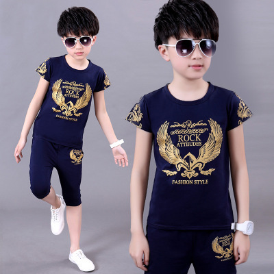 Children 39 s Wear Summer Short Sleeve Boy T Shirt Set Cotton Sports Cartoon Baby Clothes in Clothing Sets from Mother amp Kids