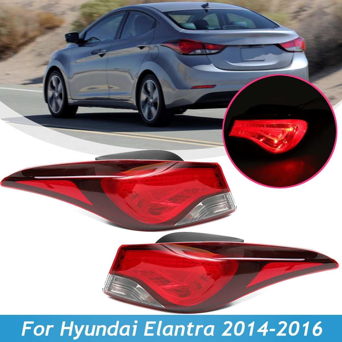 tail light lamp with bulb harness for hyundai elantra gt couple 2014 2015 2016 left right side brake rear car styling [ 1200 x 1200 Pixel ]