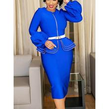 Bodycon Dress Women Vintage Ruffle Blue Elegant Evening 2019 Office Party Ladies Zipper Lantern Sleeve Spring Sexy Midi Dresses(China)