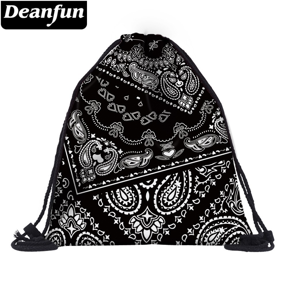 Deanfun Women Fashion 3D Printing Drawstring Bag Backpack Travel Softback Mens Backpacks Bags  25389