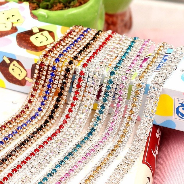 Prajna Horse Browbands 3 Rows 1 yard Gold Bottom Rhinestones Cup Chain Fine  Colorful Crystal Silver dfd94ec832a4
