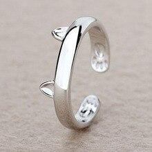 Посеребренное кольцо с кошачьими ушками, дизайн, милые модные ювелирные изделия, кольцо с кошкой для женщин и девушек, подарки, регулируемые подвески, Anel GSZR0064