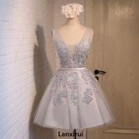 Vintage New Light Champagne Lace Dreses Girls Pearls Tulle Short Women Dress Formal Dresses Party Dress