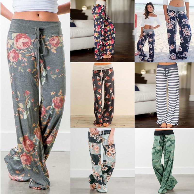 Split Print Women Wide Leg   Pants   Women Summer Beach   Pants   High Waist Chic Streetwear Frame Casual   Pants     Capris   Women K01