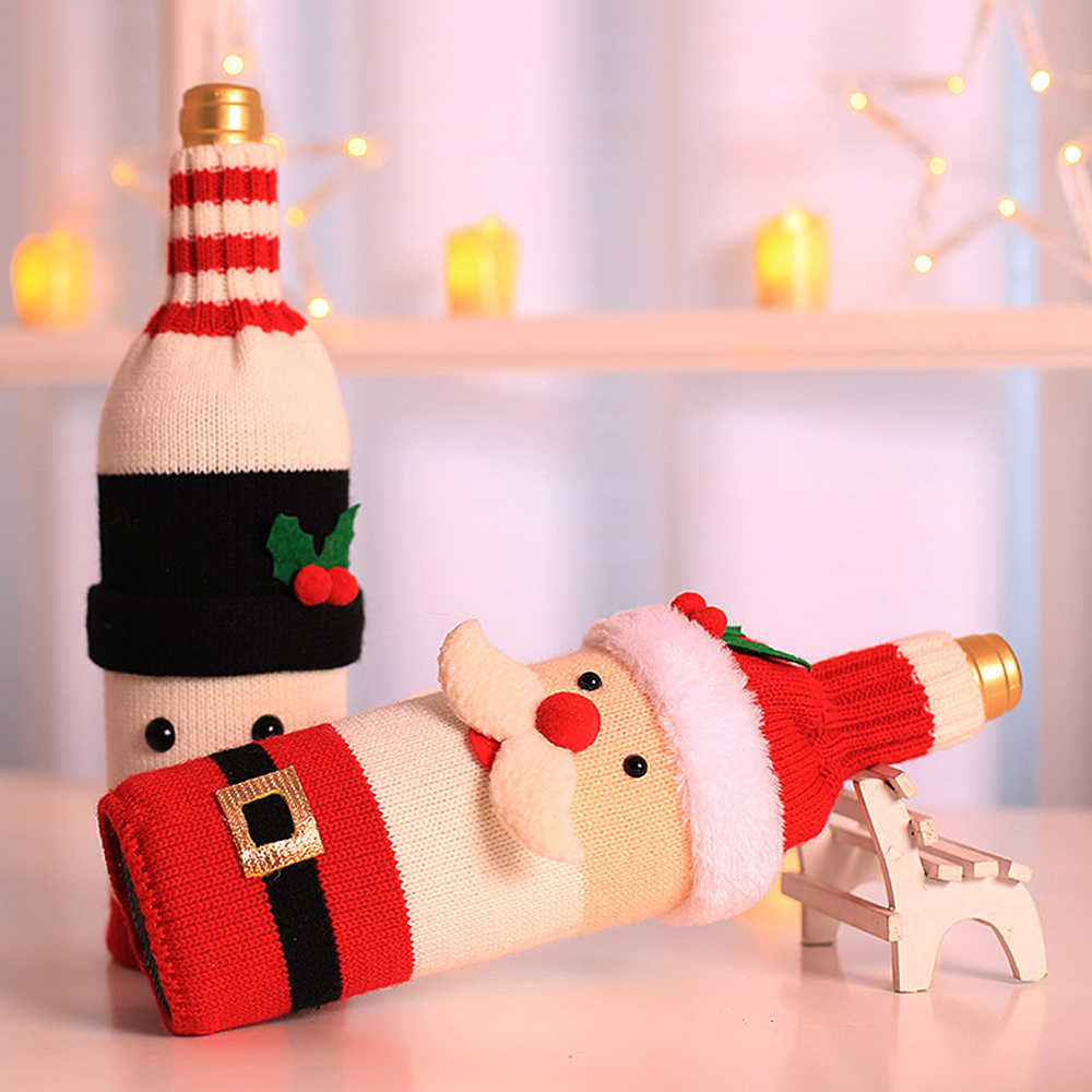 Christmas Decorations Santa Claus Wine Bottle Cover Snowman Gift Holders Xmas Navidad Decor New Year Dinner Party Table Decors