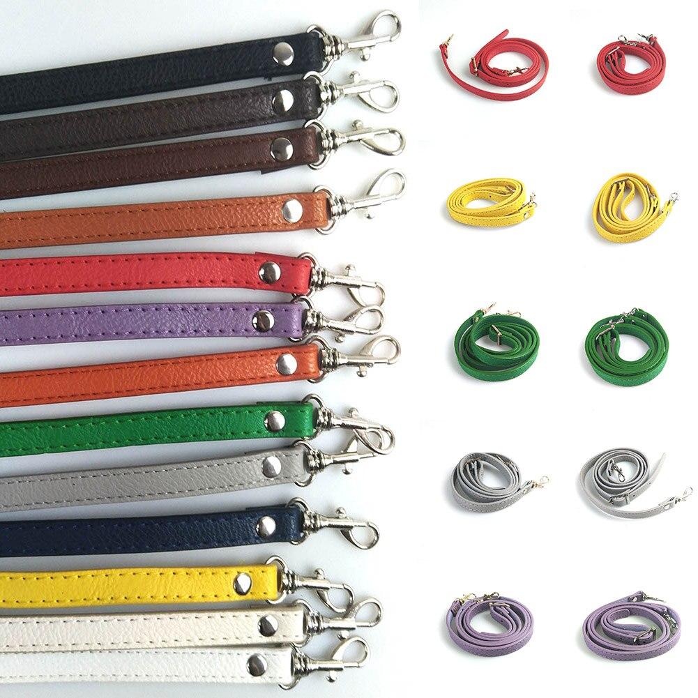 120cm Solid Color PU Leather Bag Belts Shoulder Bag Strap DIY Adjustable Thin Crossbody Handbag Belts Bag Handles Accessories