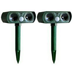 2 pces solar powered exército cor verde ultra-sônico repelente de pragas gato cão scarer dissuasor repelente para uso ao ar livre jardim suprimentos