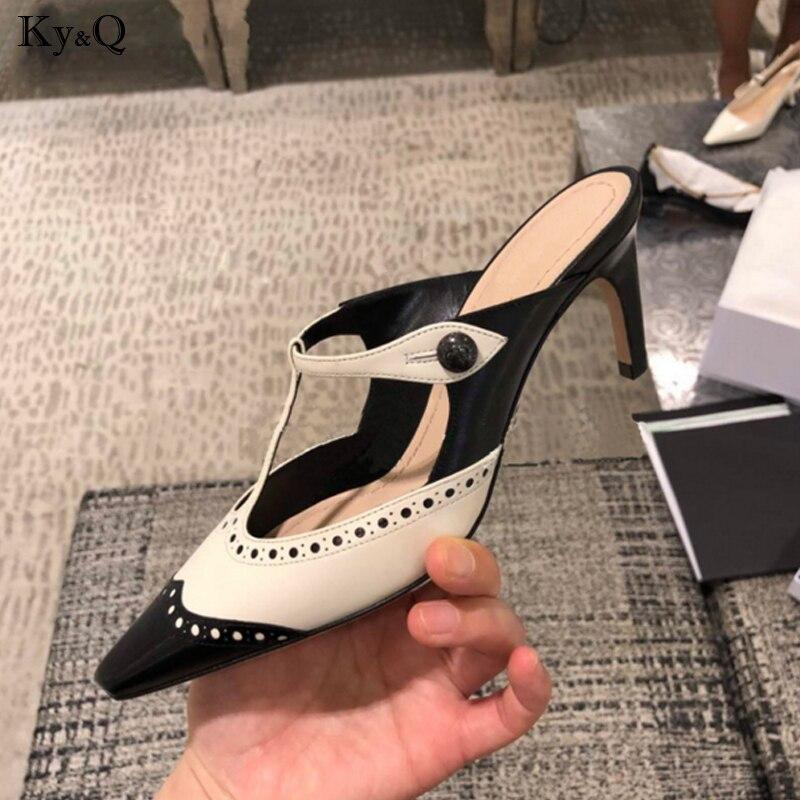 2018 Sommer Neue Britischen Stil Mode Farbe Passenden Damen Stiletto Komfortable Flach Mund Hohe Ferse Casual Hausschuhe 5-8 Cm Attraktiv Und Langlebig