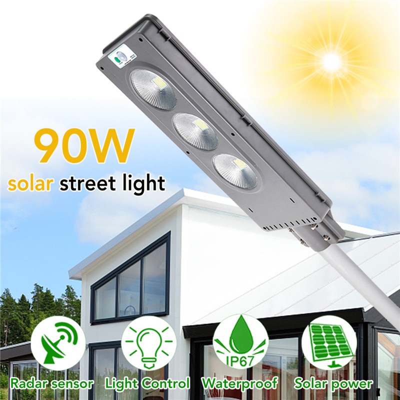 90W 120LED Solar Street Light Light Control+Radar Sensing Security Lamp 2 In 1 Constantly bright & Induction Solar Wall Lamp