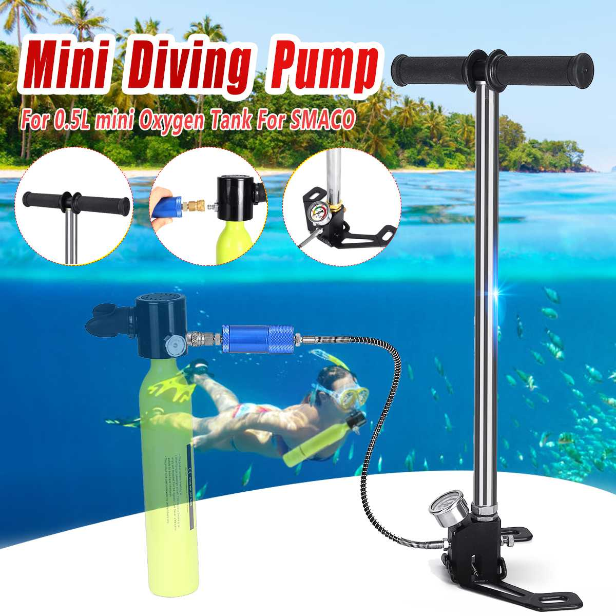 Diving Equipment Mini Hand Operated Pump For 0.5L Mini Scuba Oxygen Air Tank For SMACO Spare Underwater Breathing Accessories
