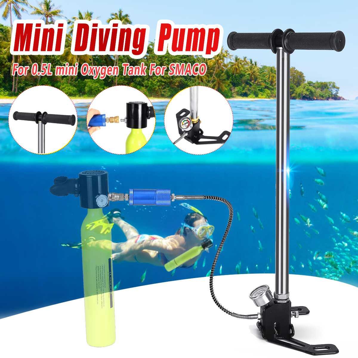 Matériel de plongée Mini Pompe À Main Pour 0.5L Mini Plongée D'oxygène Réservoir D'air Pour SMACO De Rechange de Respiration Sous-Marine Accessoires
