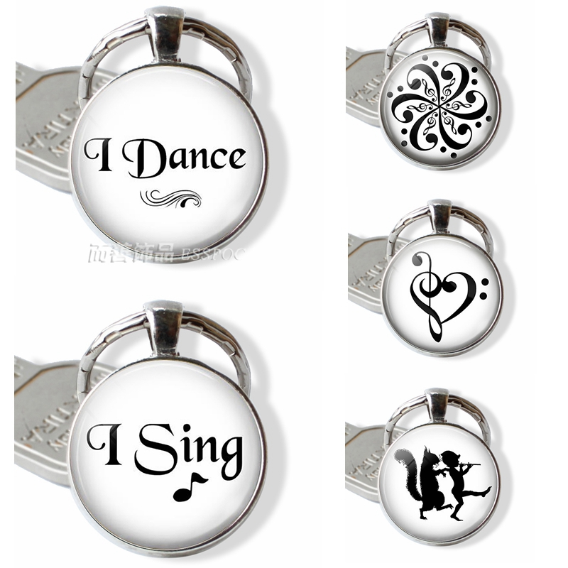 I Dance , I Sing Music Quote Keychain Glass Cabochon Dome Jewelry Fashion Handmade Key Chain Ring Silver Metal Pendant Gift