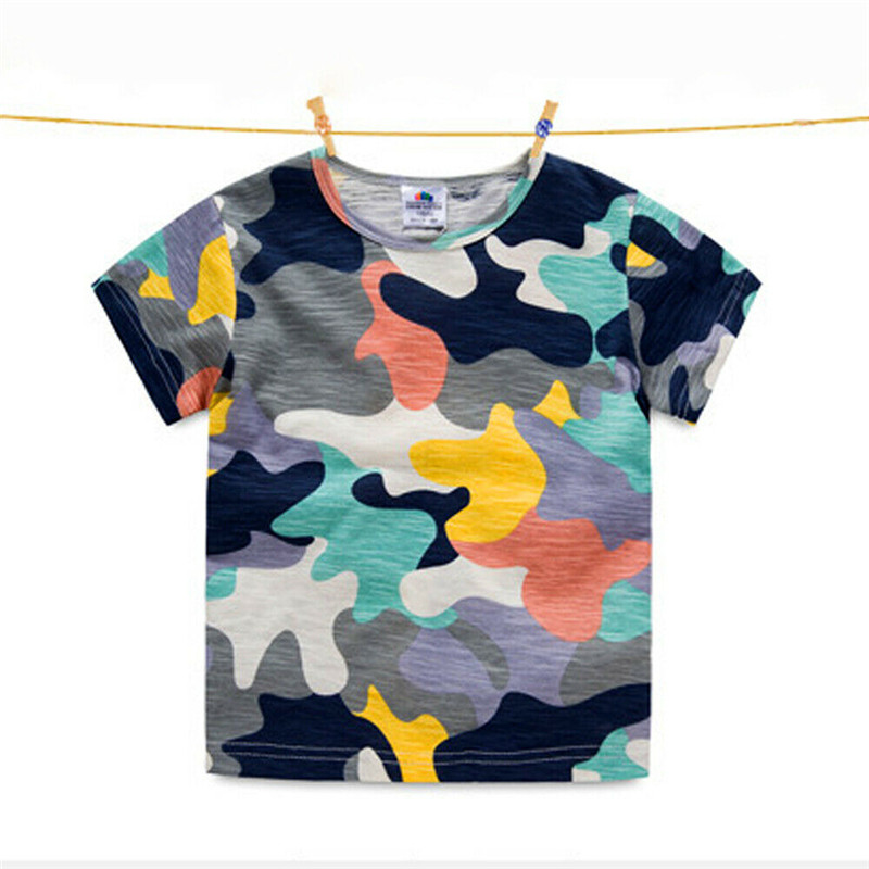 Camouflage Print Baby Boys T Shirt For Summer Infant Kids Boys Girls T-Shirts Clothes Cotton Toddler One Neck Tops
