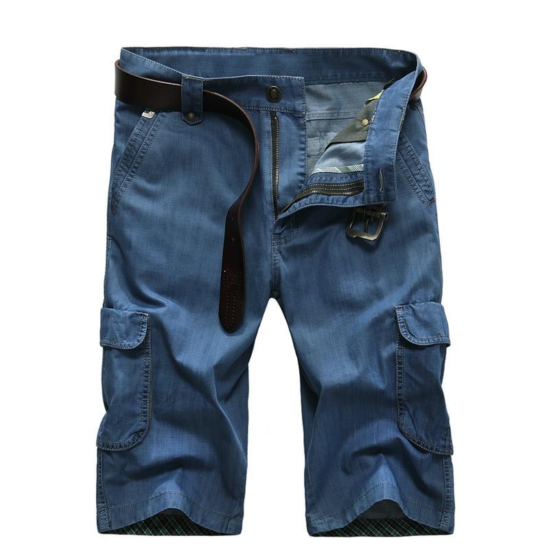 Summer Casual Shorts Men Zipper Loose Denim Shorts Mens Cargo Multi pocket Short Jeans Men Blue New Big Size 30 42