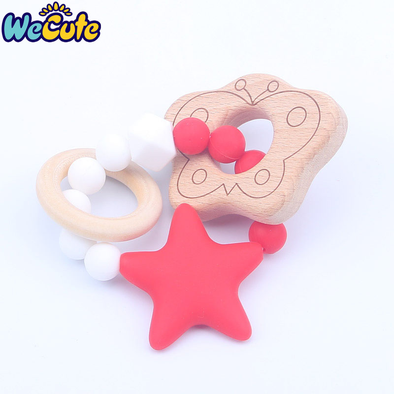 Wecute Star Silicone Teether Toys Newborn Baby BPA Free Safe Toddler Teether Chew Toy Infant Gift Cartoon Teether Pacifier