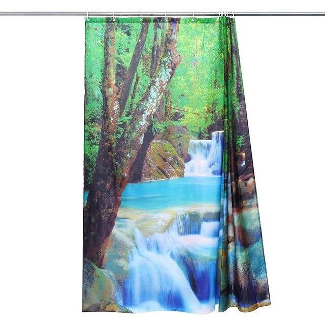 3D Waterfall Scenery Waterproof Shower Curtain 3