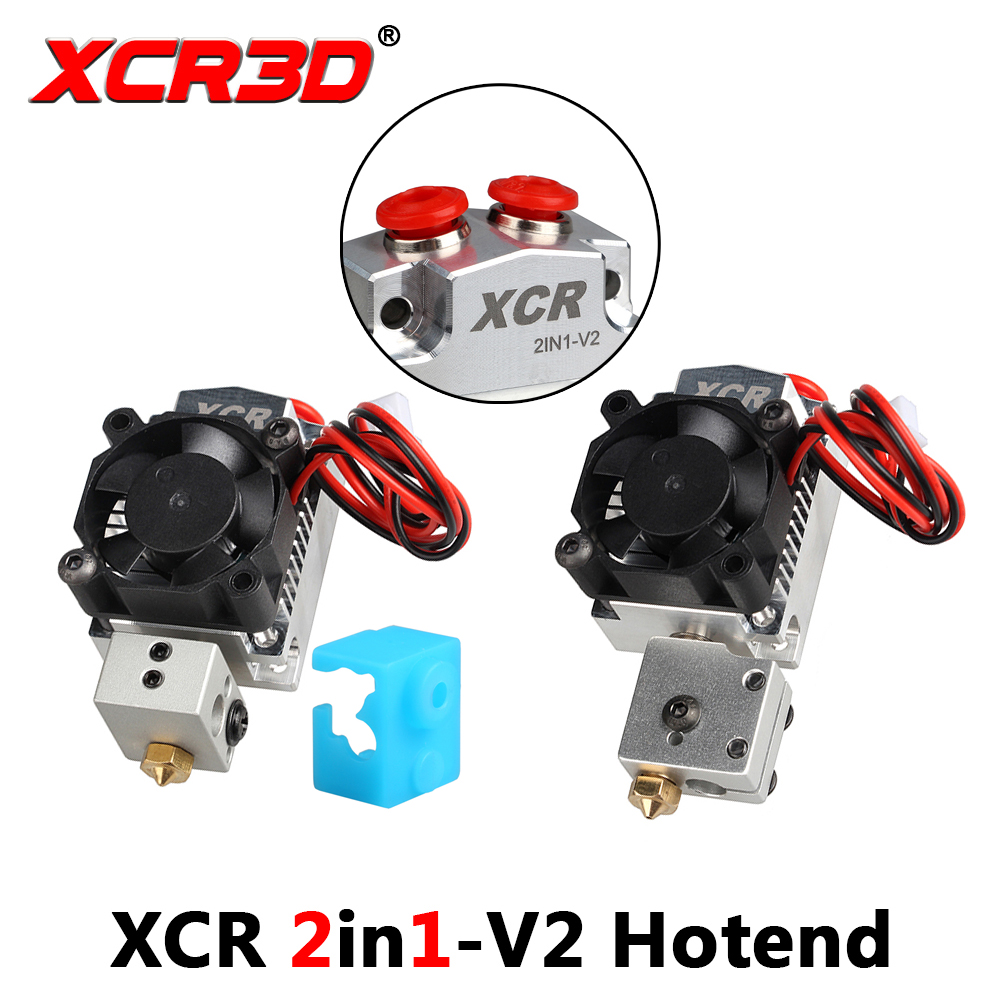 3D Printer XCR 2IN1-V2 Hotend Double Color Printing Print Head With The Fan Extruder Part NV6 Heated 0.4/1.75 Volcano Nozzle 0.8