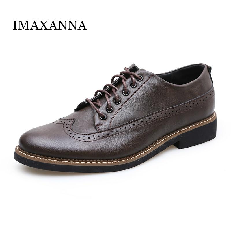 18a265133 IMAXANNA الخريف جديد رجل أحذية من الجلد اللباس أزياء الرجل عارضة حذاء واحد  جولة اصبع القدم