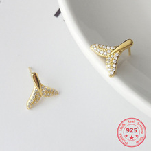 Korea New Style 925 Sterling Silver Earring for Women Simple Fashion Chic Zircon Gold Mermaid Tail Stud Jewelry