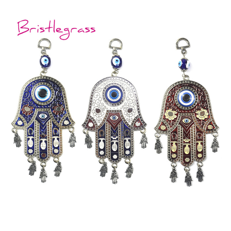 BRISTLEGRASS Turkish Blue Evil Eye Hamsa Hand Flower Fish Amulet Lucky Charm Wall Hanging Pendant Blessing Protection Home Decor in Wind Chimes Hanging Decorations from Home Garden