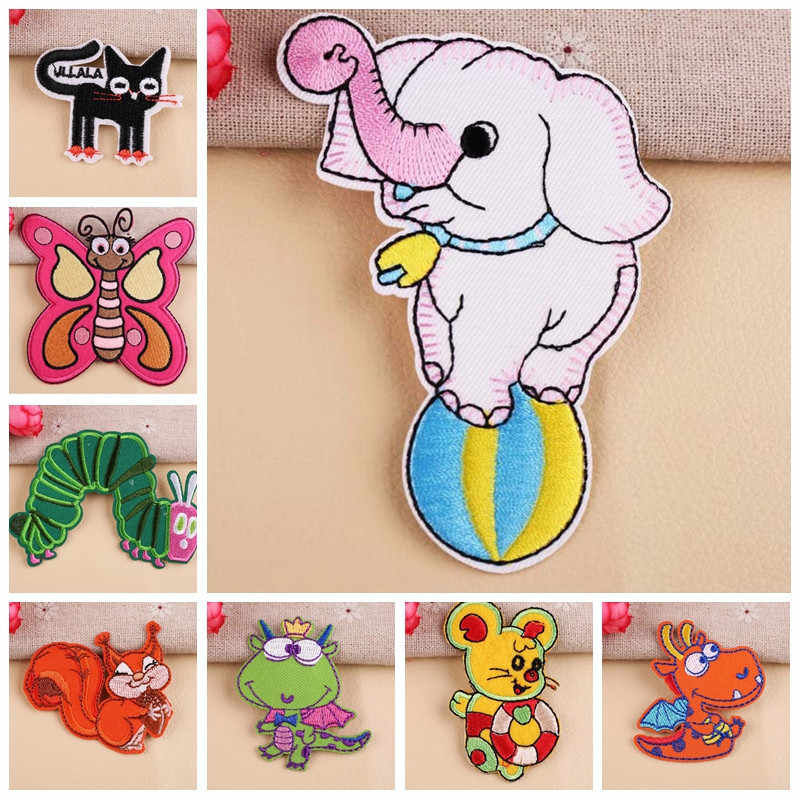 Zoo Circus Elephants Patches wholesale Exquisite Iron On Fire dragon Nut squirrel Appliques for Clothes Coats Badges Stickers