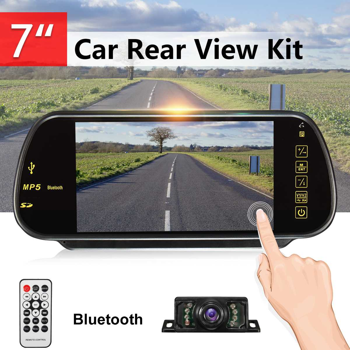 7 Inch TFT LCD Touch Screen bluetooth Car MP5 Player FM Transmitter Reversing Backup Camera Car Rear View Parking Mirror Monitor7 Inch TFT LCD Touch Screen bluetooth Car MP5 Player FM Transmitter Reversing Backup Camera Car Rear View Parking Mirror Monitor