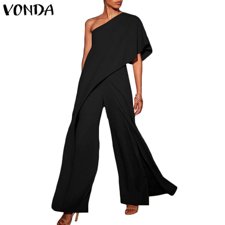 Sexy Rompers Womens   Jumpsuits   2019 VONDA Fashion Off Shoulder Ruffle Wide Leg Pants Causal Long Playshits Plus Size Overalls