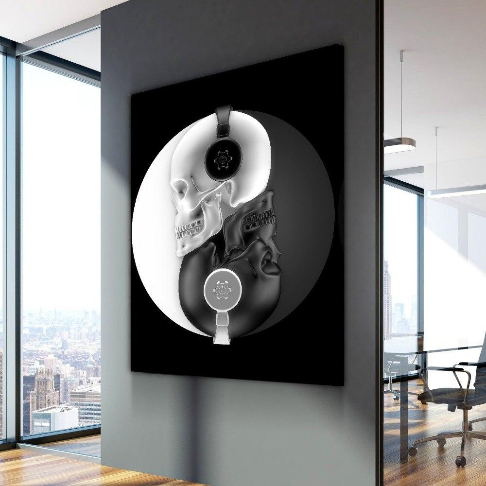 Cartaz nórdico batida do equilíbrio crânio música cuadros decoracion pinturas a óleo na lona arte da parede para decoração de casa
