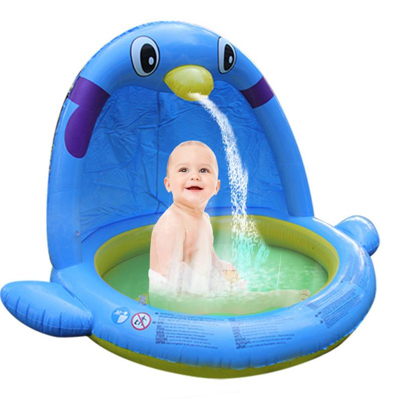 Children's Large Water Spray Game Mat Baby Bathtub Penguin Inflatable Paddling Pool For Indoor And Outdoor Use Gift For Baby