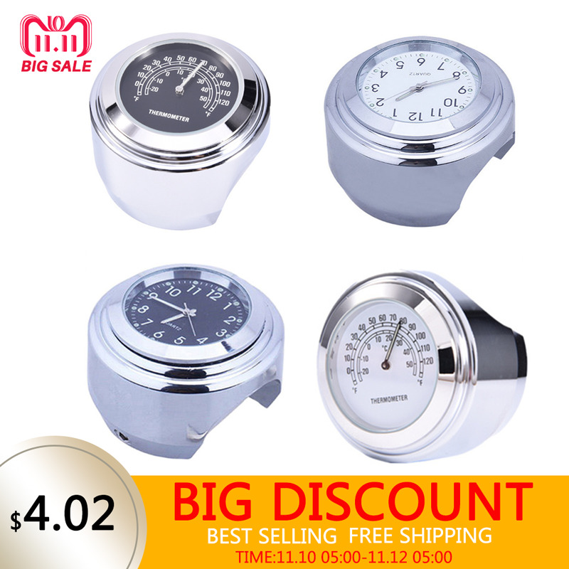 1 Pcs Universal 1 Chrome Waterproof 7/8 Motorcycle Handlebar Mount Temp Thermometer Clock Watch Motorcycles Accessories цена