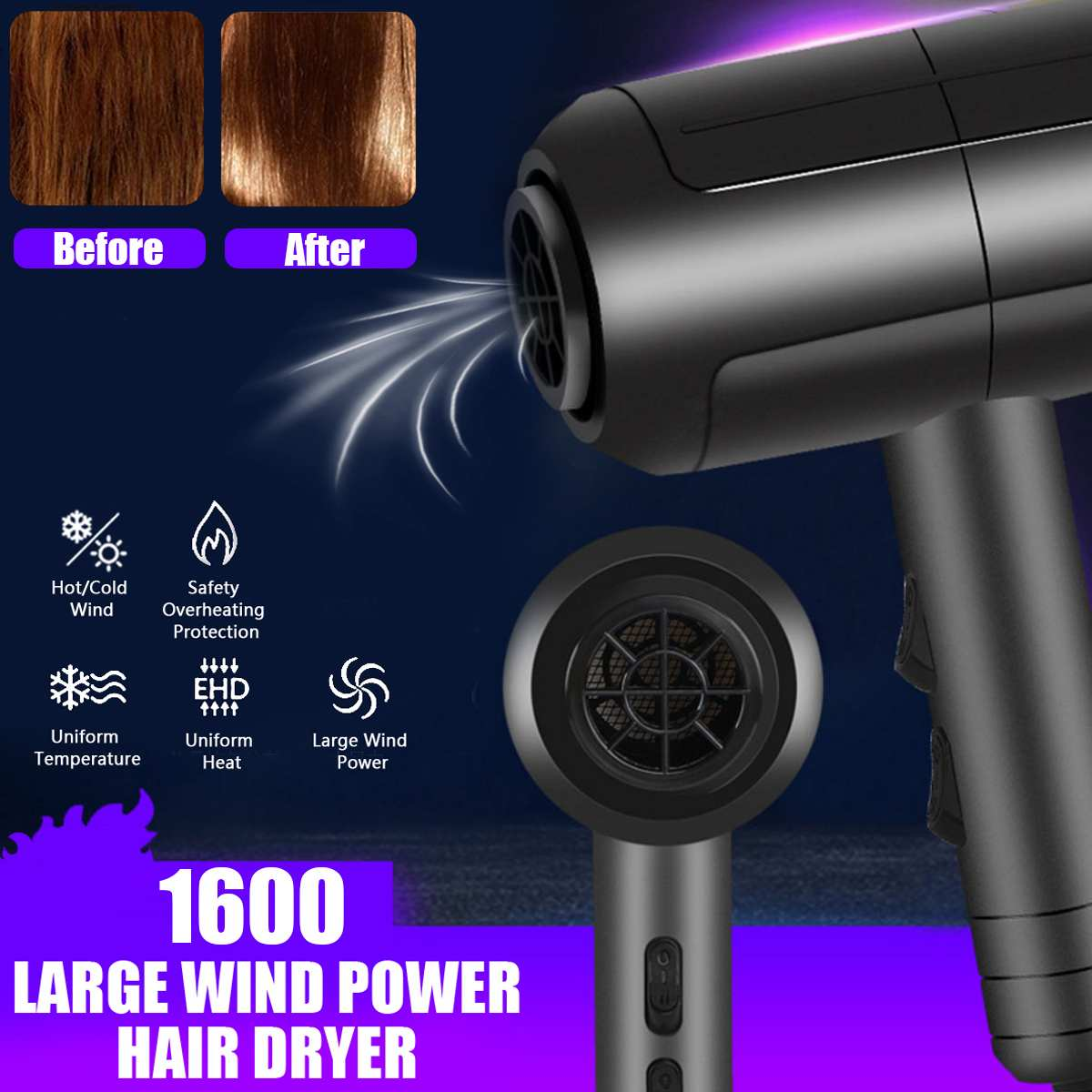 1600W Professional Hair Dryers Adjustable 3 Speed Electric Salon Tools Hair Blow Dryer Hairdressing Barbershop Hairdryer 220V1600W Professional Hair Dryers Adjustable 3 Speed Electric Salon Tools Hair Blow Dryer Hairdressing Barbershop Hairdryer 220V