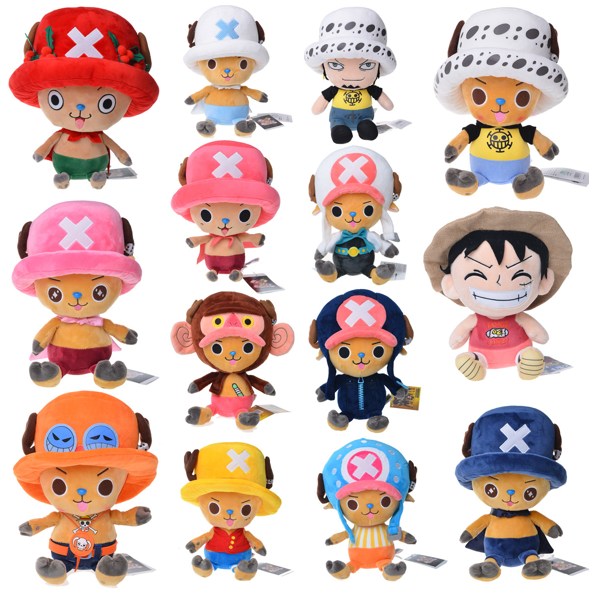Stuffed One Piece Plush Doll Soft PP Cotton Cute Pet Cushion Luffy Chopper Cosplay Law Sabo Sanji Plush Toys Natural  One Piece