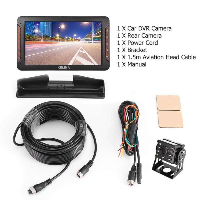 7 Inch 170 Degree KELIMA HP 988T Car DVR Camera Dual Lens Night Vision Dash Cam Record 1080P HD Rear View Dual core CPU