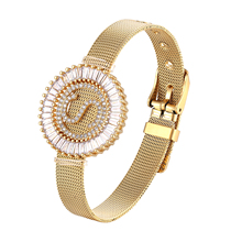 Fashion Stainless Steel Watch Style Bracelet Cubic Zirconia CZ Letter Initial Charm Bracelets