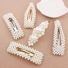 Simulated Pearl Hair Pin Barrette For Women Korean Jewelry Girl Headwear Gold Color Clip HairPins Hair Accessories Hairgrip(China)