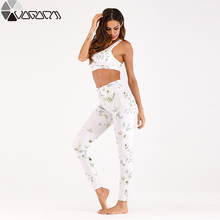 2 Piece Women Yoga Set Sports Running Suit Floral Printed Bra+leggings Mujer Tight High Waist Jogging Fitness Training