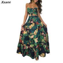 Women print ruffles crop top women tops long skirt 2 piece set for female summer beach two pieces sets skirts