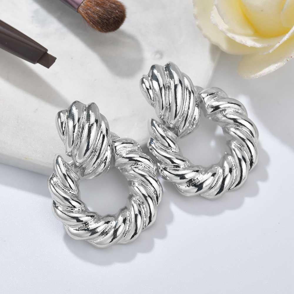 2019 nowy projekt Metal złoty srebrny geometryczny okrągły koło skręcone spadek kolczyki dla kobiet dziewczyna wesele biżuteria Brincos prezent
