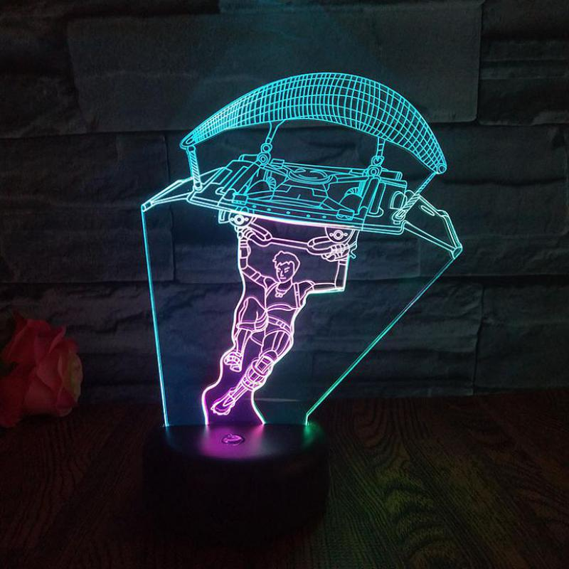 Skydiving Led 3d Seven Color Nightlight Touch USB And Battery Power Supply Led Light Party Decoration Lamp