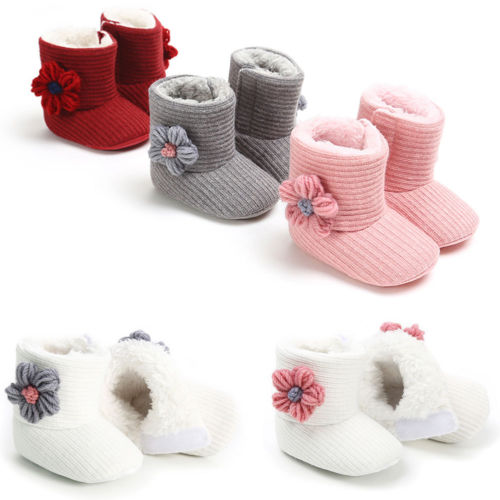 0-18M Baby Kids Girl Winter Warm Fleece Knit Snow Boots Booties Crib Shoes