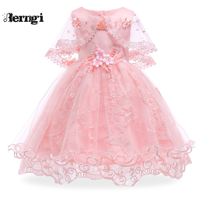 Berngi   Flower     Girls     Dresses   For Wedding Party Baby   Girls   Sleeveless Embroidery Princess   Dress   Children Party Vestidos Clothes