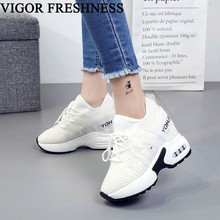 VIGOR FRESHNESS Shoes Women Sneakers 9CM Mesh Height Increasing Shoes Woman High Hidden Heel Shoes Lady Sneakers Female W272