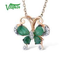 VISTOSO Gold Pendants For Women Pure 14K 585 Rose Gold Delicate Butterfly Natural Emerald Sparkling Diamond Wedding Fine Jewelry