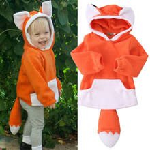 Cute Cartoon Fox Hooded Coats With Tail Newborn Kid Baby&Boys Girls Outerwear With Ears Jacket Winter Snowsuits 1-4 Years(China)