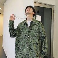 2019 Men's Real Fire Long shirt men M 2XL Sleeve Coats Hawaiian Printing mens floral Shirts French Cuff Brand Fashion green