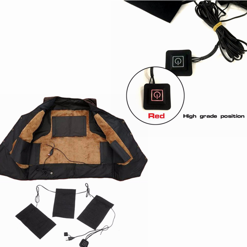 USB Electric Heating Clothing Pads Keep Body Warm Up To 65 Degree 3 Gear Adjustable Vest Jacket Waists Heating Pad Toiletry