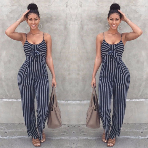 US Women Fashion Sexy Summer Party Stripe Sleeveless   Jumpsuit   Romper Top Outfits