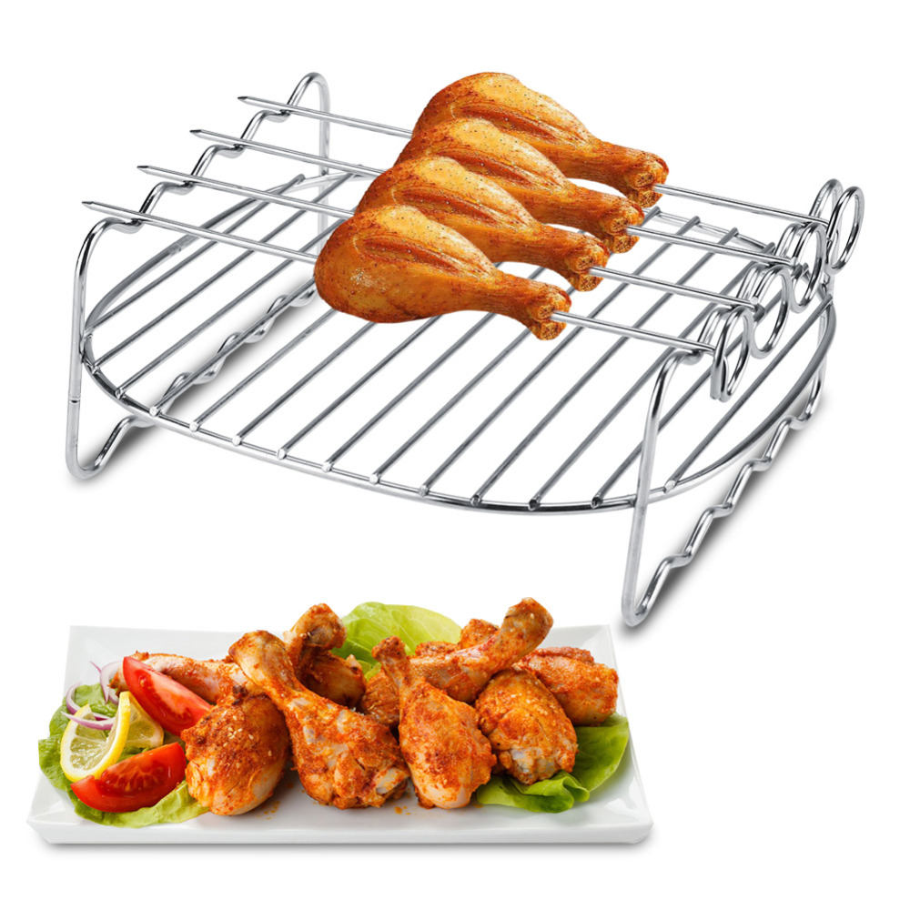 Cake Mold Stainless Steel Replacement BBQ Rack Double Layer Skewers Baking Tray For Air Fryer Barbecue Rack Baking Tray