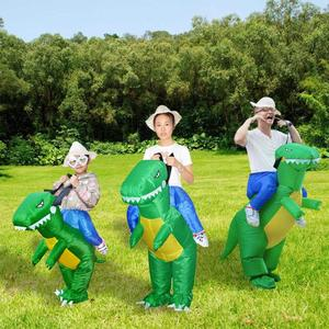 Image 4 - 3D Stand Riding Inflatable Dinosaur Costume Halloween Dress Cosplay Suit Horse Cowboy Costume for Kids Adult Party Prop Supplies
