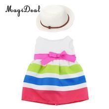 18 pulgadas muñeca de fiesta de verano ropa-encantador vestido sin mangas y  sombrero de paja trajes para nuestra generación muñe. e81a0b2c2a4